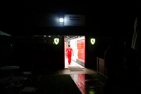 Night falls on the Ferrari garage.