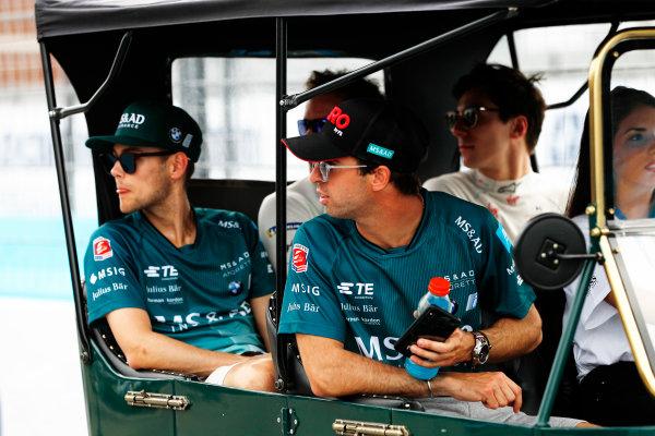 Tom Blomqvist (GBR), MS + AD Andretti Formula E, Andretti ATEC-03, Alex Lynn (GBR), DS Virgin Racing, DS Virgin DSV-03, and Antonio Felix da Costa (POR), MS + AD Andretti Formula E Team, Andretti ATEC-03.