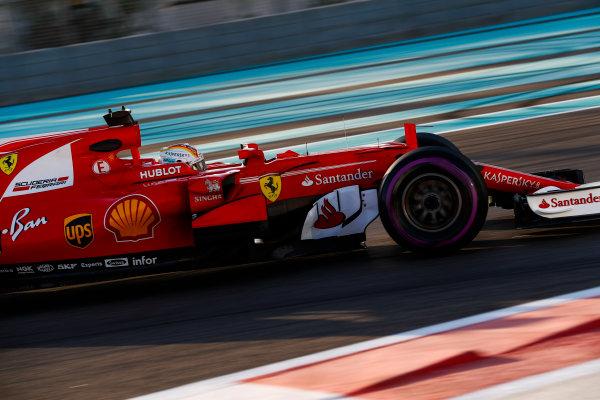 Yas Marina Circuit, Abu Dhabi, United Arab Emirates. Wednesday 29 November 2017. Sebastian Vettel, Ferrari SF70H.  World Copyright: Zak Mauger/LAT Images  ref: Digital Image _O3I1984