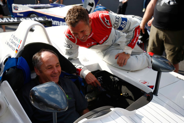 Red Bull Ring, Spielberg, Austria. Saturday 08 July 2017. Tom Kristensen with Gerhard Berger at the Legends Parade. World Copyright: Andy Hone/LAT Images ref: Digital Image _ONZ0877