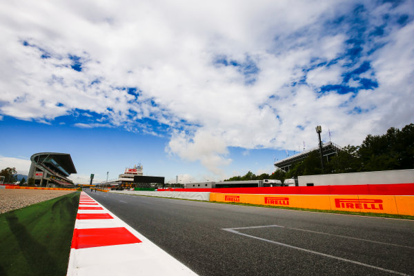 Circuit de Catalunya, Barcelona, Spain. Thursday 11 May 2017. Clouds over the main straight and grandstand. World Copyright: Andy Hone/LAT Images ref: Digital Image _ONZ2975