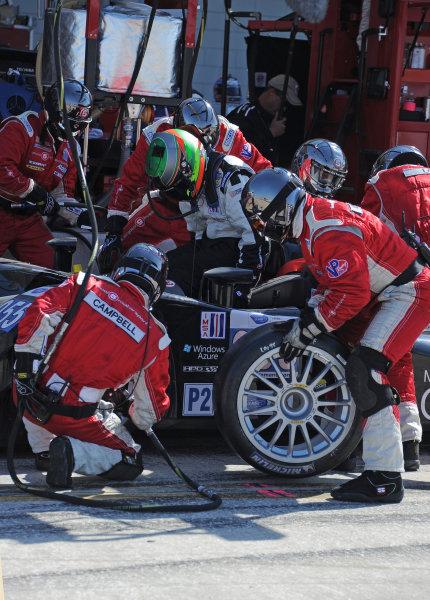 14-19 March 2011. Sebring, Florida USA#055 Level 5 Motorsports Lola Honda during pitstop.©2011 Dan R. Boyd LAT Photo USA