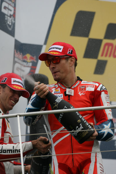 Indianapolis Grand Prix, Indianapolis, USA.28th - 30th August 2009.Nicky Hayden Ducati Marlboro Team celebrates on the podium.World Copyright: Martin Heath/LAT Photographic ref: Digital Image SE5K6559