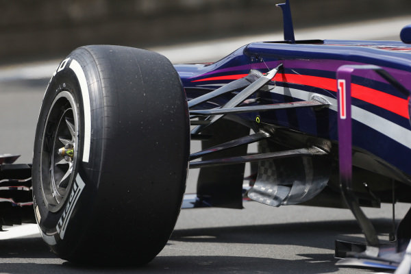 Red Bull Racing RB9 front suspension. Formula One World Championship, Rd9, German Grand Prix, Qualifying, Nurburgring, Germany, Saturday 6 July 2013.