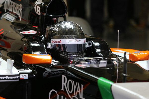 Sergio Perez (MEX) Force India VJM07. Formula One Testing, Jerez, Spain, Day One, Tuesday 28 January 2014.