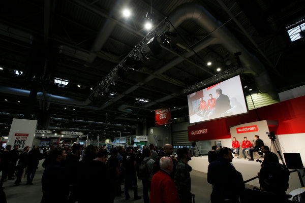 Autosport International Exhibition. National Exhibition Centre, Birmingham, UK. Friday 12th January 2018. Kris Meeke and Craig Breen of Citroen meet Henry Hope-Frost on the Autosport Stage. World Copyright: Joe Portlock/LAT Images Ref: _L5R8922