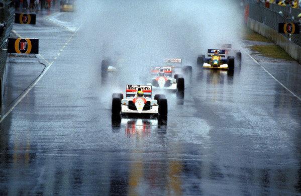 Ayrton Senna, McLaren MP4-6 Honda, leads Gerhard Berger, McLaren MP4-6 Honda, at the start of the race.