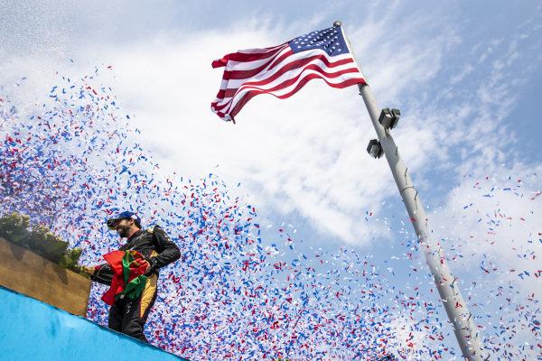 Antonio Felix da Costa (PRT), DS Techeetah, 3rd position, sprays Champagne from the podium