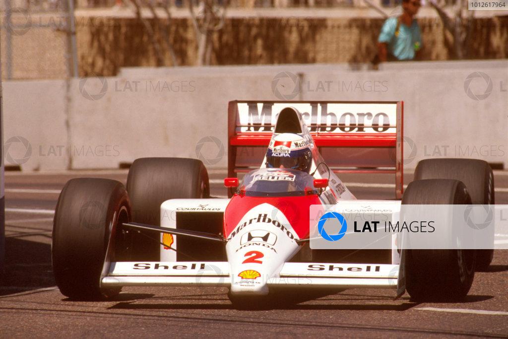 Phoenix, Arizona, USA.2-4 June 1989.Alain Prost (McLaren MP4/5 Honda) 1st position.Ref-89 USA 14.World Copyright - LAT Photographic