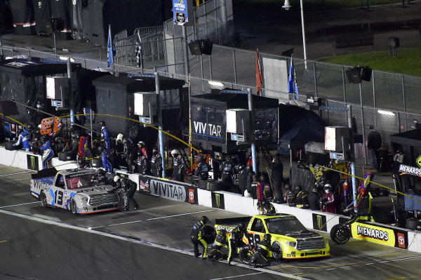 #88: Matt Crafton, ThorSport Racing, Toyota Tundra Menards and #13: Johnny Sauter, ThorSport Racing, Toyota Tundra Vivitar/RealTree