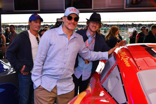 Woody Harrelson (USA) Actor and Owen Wilson (USA) Actor in the cars 3 garage at Formula One World Championship, Rd10, British Grand Prix, Race, Silverstone, England, Sunday 16 July 2017.