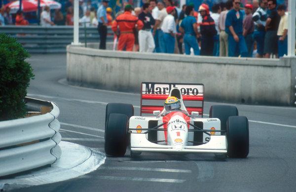 1992 Monaco Grand Prix.Monte Carlo, Monaco.28-31 May 1992.Ayrton Senna (McLaren MP4/7A Honda) 1st position.Ref-92 MON 04.World Copyright - LAT Photographic