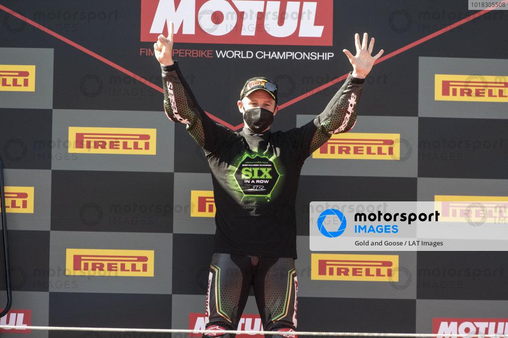 Jonathan Rea, Kawasaki Racing Team celebrates his sixth World Championship.