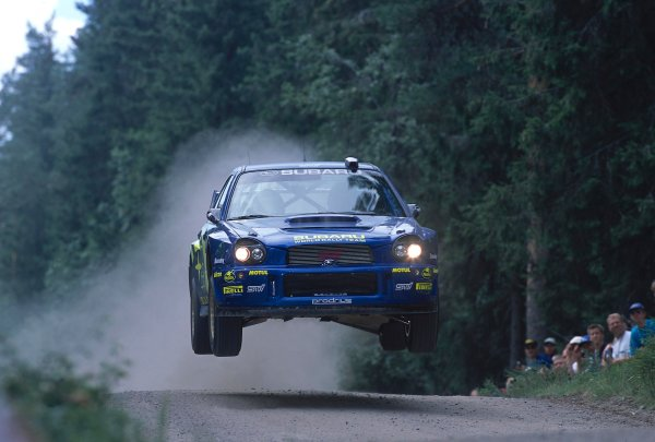 2002 World Rally ChampionshipNeste Rally of Finland. 8th - 11th August 2002.Tommi Makinen/Kaj lindstrom, Subaru Impreza WRC, action.World Copyright: McKlein/LAT Photographicref: 35mm Image A13