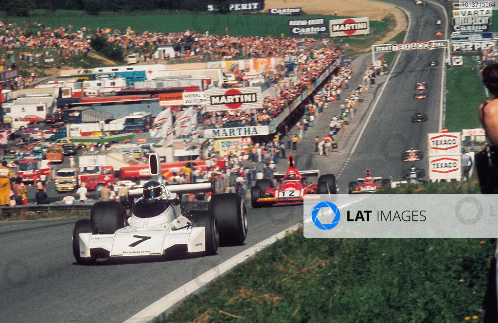 Osterreichring, Zeltweg, Austria. 16-18 August 1974. Carlos Reutemann, Brabham BT44 Ford, 1st position, leads Niki Lauda, Ferrari 312B3. Ref: 74AUT03. World Copyright - LAT Photographic