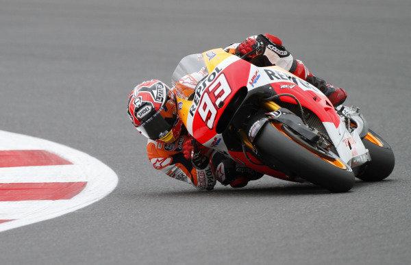 2014 MotoGP Championship  British Grand Prix.  Silverstone, England. 29th - 30st August 2014.  Marc Marquez, Honda.  Ref: _W7_8326. World copyright: Kevin Wood/LAT Photographic