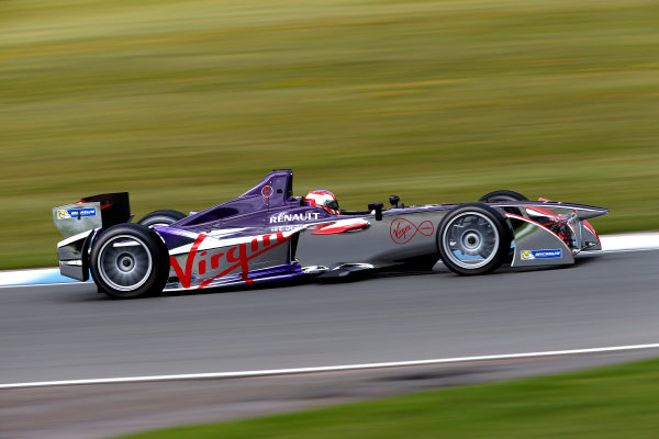 FIA Formula E Test Day, Donington Park, UK.  9th - 10th July 2014.  Jaime Alguersuari, Virgin Racing. Photo: Glenn Dunbar/FIA Formula E ref: Digital Image _89P3690