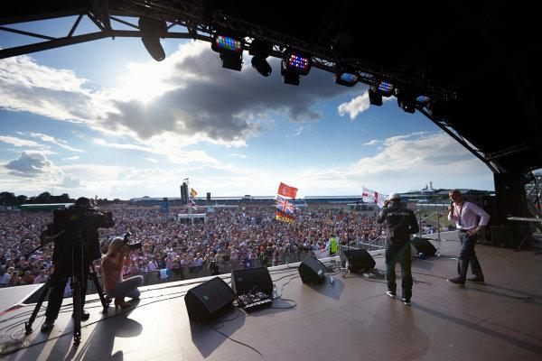 Silverstone, Northamptonshire, England. Sunday 6 July 2014. Lewis Hamilton, Mercedes AMG, on stage. World Copyright: Steve Etherington/LAT Photographic. ref: Digital Image SNE19942