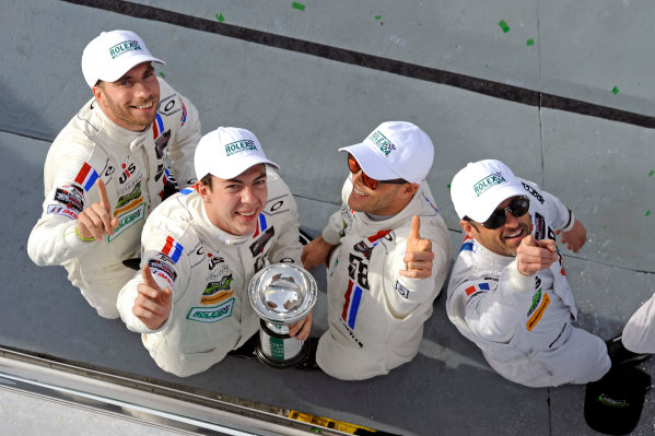 22-25 January, 2015, Daytona Beach, Florida USA 58, Porsche, 911 GT America, GTD, Madison Snow, Jan Heylen, Patrick Dempsey, Philipp Eng celebrate 3rd. ?2015, F. Peirce Williams LAT Photo USA