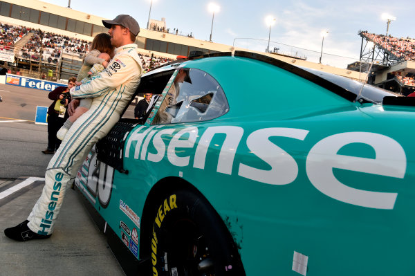 24 April, 2015, Richmond, Virginia USA Denny Hamlin, Hisense Toyota Camry and daughter Taylor ? 2015, Nigel Kinrade LAT Photo USA