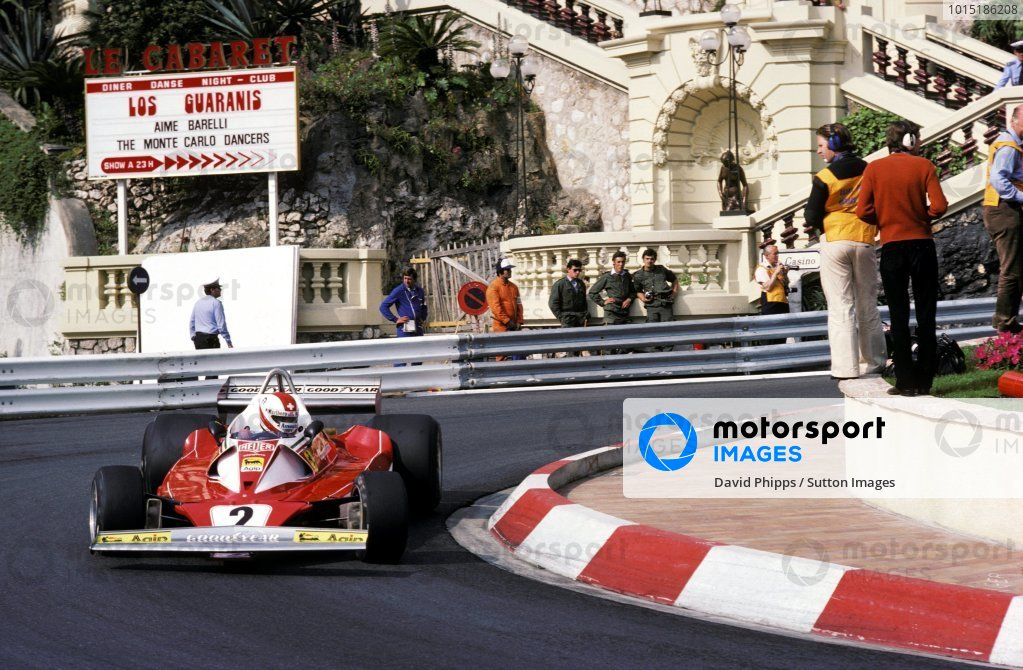 Clay Regazzoni (SUI) Ferrari 312T2 lost third position when he crashed out on lap 74.Monaco Grand Prix, Rd6, Monte Carlo, 30 May 1976.BEST IMAGE