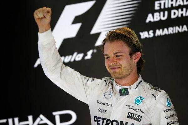 Yas Marina Circuit, Abu Dhabi, United Arab Emirates. Sunday 29 November 2015. Nico Rosberg, Mercedes AMG, 1st Position, on the podium. World Copyright: Charles Coates/LAT Photographic ref: Digital Image _99O2657