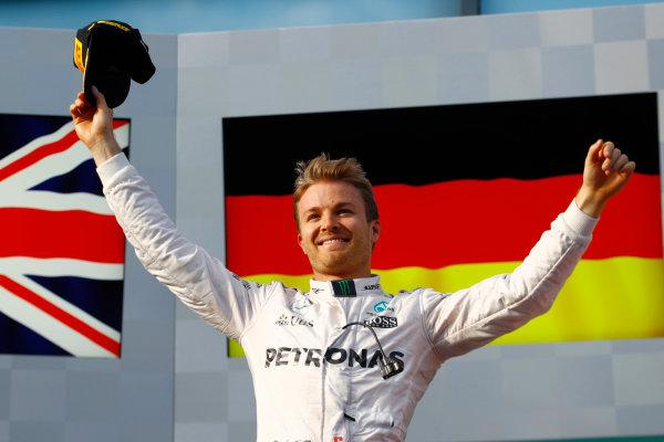 Albert Park, Melbourne, Australia. Sunday 20 March 2016. Nico Rosberg, Mercedes F1 W07 Hybrid celebrates after winning the race. World Copyright: Steven Tee/LAT Photographic ref: Digital Image _H7I6018