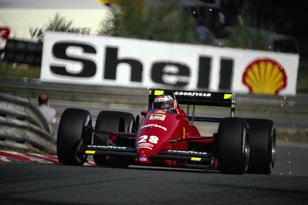 Gerhard Berger, Ferrari F1/87-88C, with sparks at Eau Rouge.