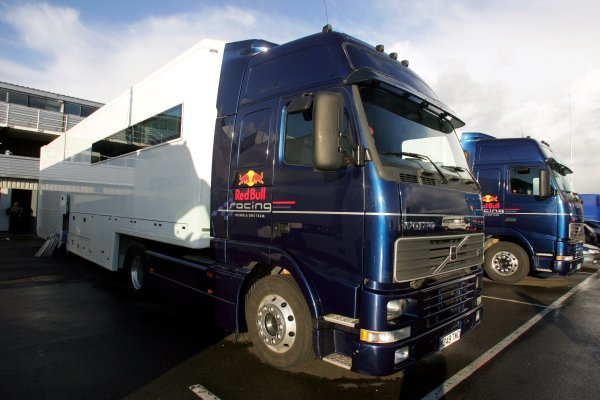 The Red Bull Racing trucks in the paddock. Formula One Testing, Silverstone, England, 21 February 2005. DIGITAL IMAGE