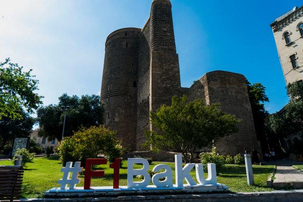 Baku City Circuit, Baku, Azerbaijan. Wednesday 21 June 2017. Promotional hashtag in the Old City of Baku. World Copyright: Glenn Dunbar/LAT Images ref: Digital Image DSC01395