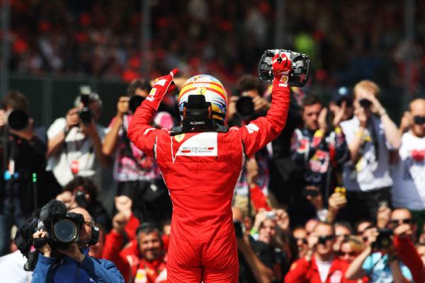 Race winner Fernando Alonso (ESP) Ferrari in parc ferme.  Formula One World Championship, Rd 9, British Grand Prix, Race, Silverstone, England, Sunday 10 July 2011.  BEST IMAGE