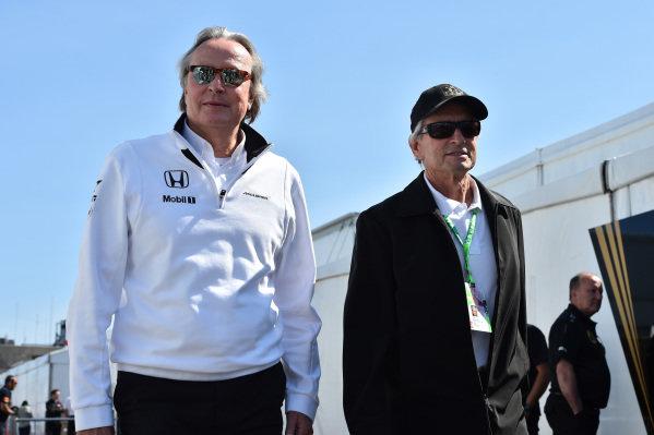 Mansour Ojjeh (KSA) TAG and Michael Douglas (USA) at Formula One World Championship, Rd7, Canadian Grand Prix, Race, Montreal, Canada, Sunday 7 June 2015.