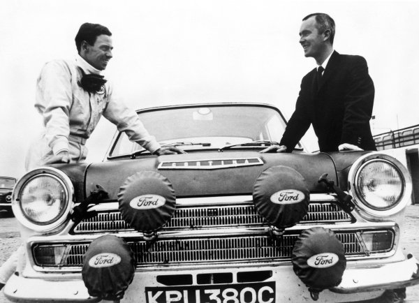 Boreham, England.Jim Clark with co-driver, Brian Melia here with their works Lotus Cortina, portrait. World Copyright: LAT Photographic.Ref:  Autocar Used Pic 30th September 1966 Pg 703.