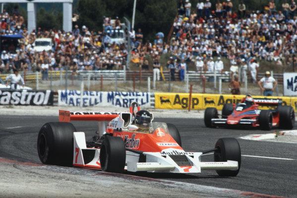 Paul Ricard, Le Castellet, France. 30/6-2/7 1978.  James Hunt (McLaren M26 Ford) 3rd position, leads John Watson (Brabham BT46 Alfa Romeo) 4th position.  Ref: 78FRA22. World Copyright: LAT Photographic
