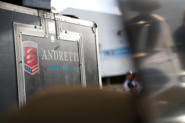 Miami e-Prix 2015. First Practice Session Andretti Garage. FIA Formula E World Championship. Miami, Florida, USA. Saturday 14 March 2015.  Copyright: Adam Warner / LAT / FE ref: Digital Image _L5R3403