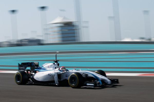 Yas Marina Circuit, Abu Dhabi, United Arab Emirates. Wednesday 26 November 2014. Felipe Nasr, Williams FW36 Mercedes.  World Copyright: Sam Bloxham/LAT Photographic. ref: Digital Image _G7C9296