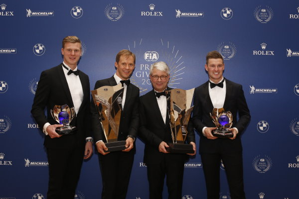 2016 FIA Prize Giving Vienna, Austria Friday 2nd December 2016 Johan Kristoffersson, Mattias Ekstrom and Andreas Bakkerud. Photo: Copyright Free FOR EDITORIAL USE ONLY. Mandatory Credit: FIA ref: 31381748855_5d29a0c424_o