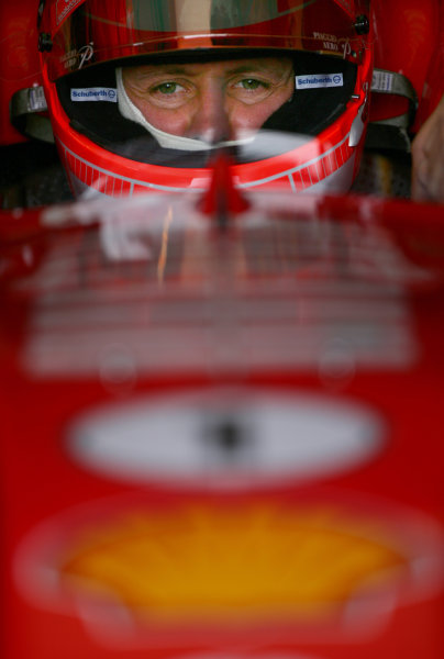 2005 British Grand Prix - Friday Practice,Silverstone, England. 8th July 2005 Michael Schumacher, Ferrari F2005 World Copyright: Steve Etherington/LAT Photographic ref: 48mb Hi Res Digital Image