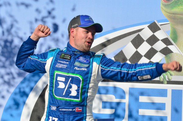Monster Energy NASCAR Cup Series GEICO 500 Talladega Superspeedway, Talladega, AL USA Sunday 7 May 2017 Ricky Stenhouse Jr, Roush Fenway Racing, Fifth Third Bank Ford Fusion, celebrates in victory lane. World Copyright: John K Harrelson LAT Images ref: Digital Image 17TAL1jh_05118