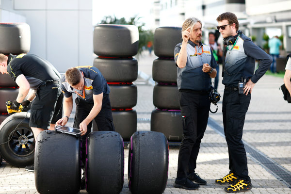Sochi Autodrom, Sochi, Russia. Friday 28 April 2017. Pirelli engineers work on some tyres. World Copyright: Andrew Hone/LAT Images ref: Digital Image _ONZ0372