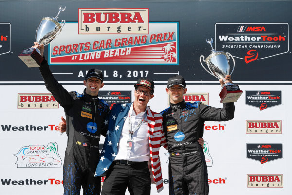 2017 IMSA WeatherTech SportsCar Championship BUBBA burger Sports Car Grand Prix at Long Beach Streets of Long Beach, CA USA Saturday 8 April 2017 10, Cadillac DPi, P, Ricky Taylor, Jordan Taylor, podium World Copyright: Michael L. Levitt LAT Images ref: Digital Image levitt-0417-lbgp_09666
