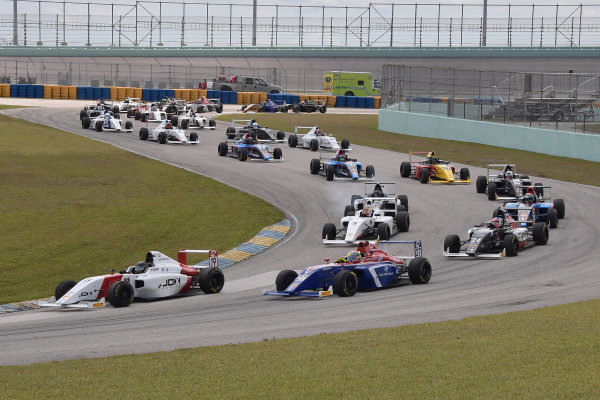 2017 F4 US Championship Rounds 1-2-3 Homestead-Miami Speedway, Homestead, FL USA Sunday 9 April 2017 #19 of Timo Reger and #27 of Austin Kaszuba head field at start of race #2  World Copyright: Dan R. Boyd/LAT Images