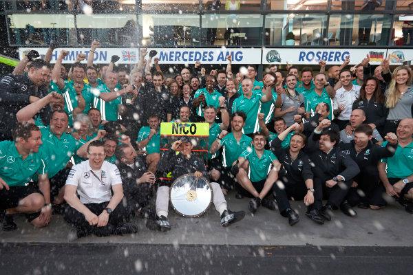 Albert Park, Melbourne, Australia. Sunday 16 March 2014. Nico Rosberg, Mercedes AMG, 1st Position, celebrates with his team. World Copyright: Steve Etherington/LAT Photographic. ref: Digital Image SNE13836 copy