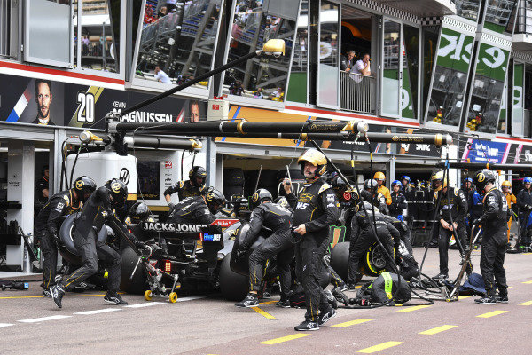 Romain Grosjean, Haas VF-19, in the pits