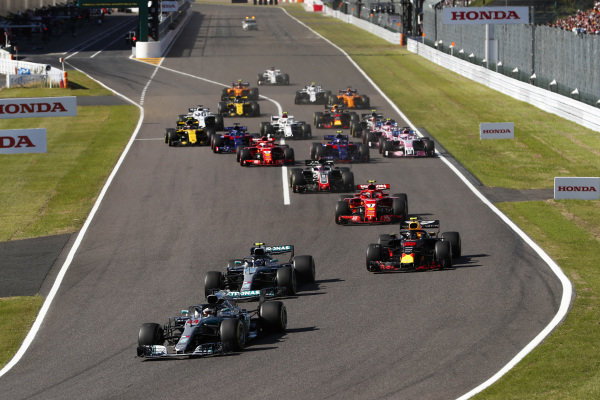 Lewis Hamilton, Mercedes AMG F1 W09 EQ Power+, leads Valtteri Bottas, Mercedes AMG F1 W09 EQ Power+ and Max Verstappen, Red Bull Racing RB14