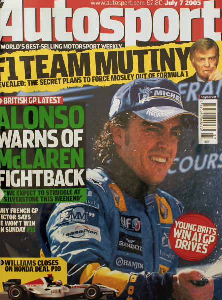 Cover of Autosport magazine, 7th July 2005