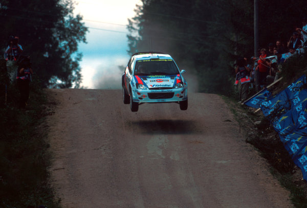Colin McRae in action during leg 1 of the Neste Rally of Finland.Photo:McKlein/LAT