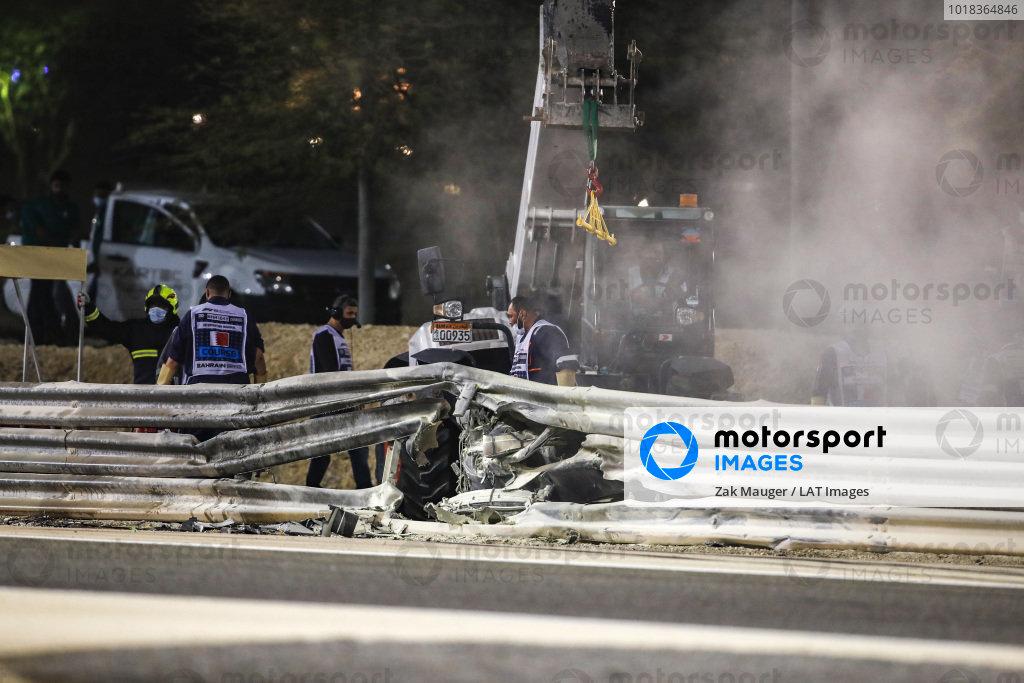 The hole in the Armco where Romain Grosjean's Haas VF-20 hit it