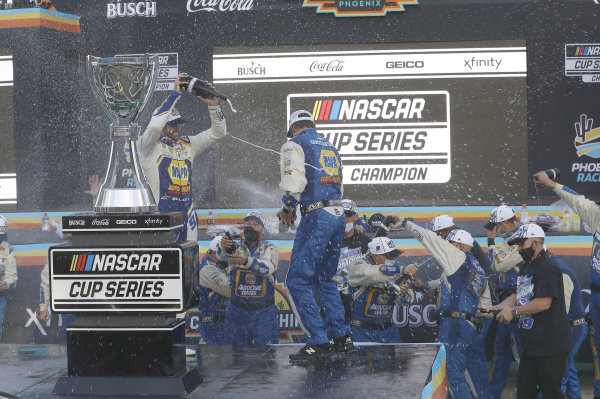 #9: Chase Elliott, Hendrick Motorsports, Chevrolet Camaro NAPA Auto Parts, celebrates after winning the Nascar 2020 Cup Championship.