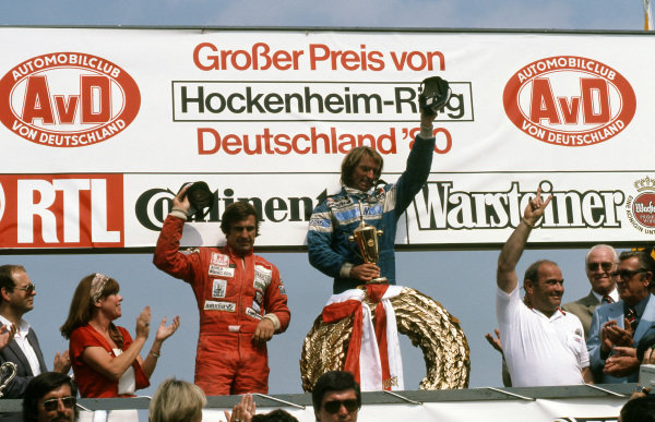 Podium and results: 1st Jacques Laffite (FRA), Ligier, centre. 2nd Carlos Reutemann (ARG), Williams, left. Third placed Alan Jones (AUS), Williams, boycotted the podium as Jean-Marie Belastre (FRA), FISA President, was present. Jones was still angry after the Spanish Grand Prix results, and therefore his win, were declared void by the FIA and FISA after the race was found to be illegal. This was a result of the ongoing FOCA/FISA war. Balestre is pictured far right. German Grand Prix, Rd9, Hockenheim, Germany, 10 August 1980. BEST IMAGE